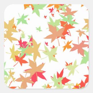 Colorful autumn leaves design square sticker