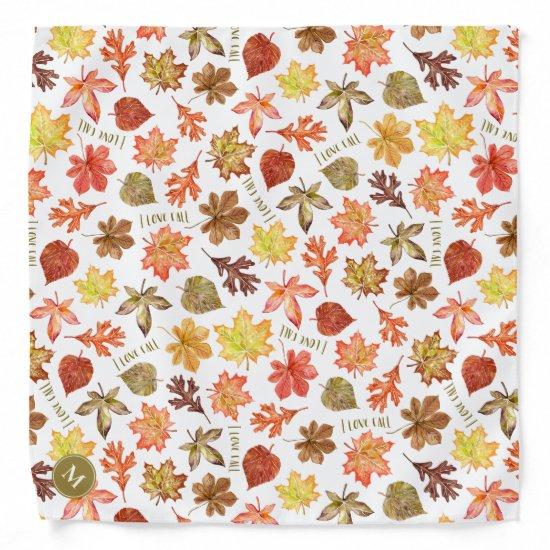 colorful autumn leaves I love fall custom monogram Bandana