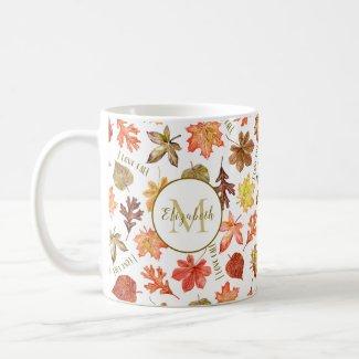 colorful autumn leaves I love fall personalized Coffee Mug
