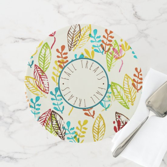 Colorful Autumn Leaves Modern Trendy Farmhouse Fun Cake Stand