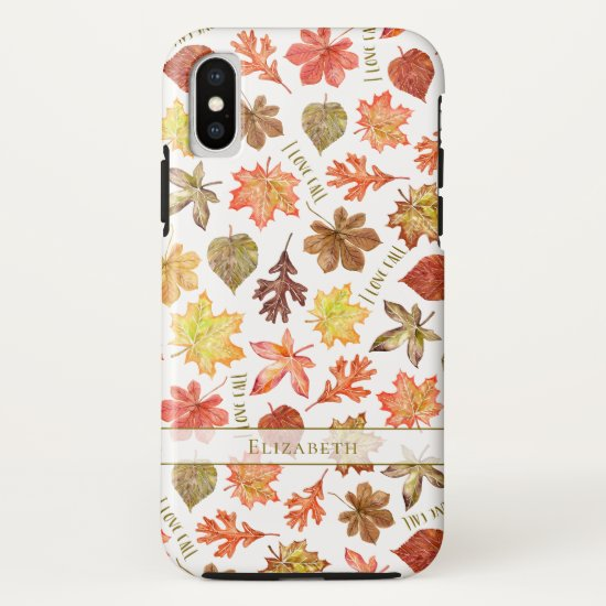 colorful autumn leaves pattern I love fall iPhone X Case