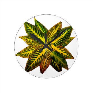 Colorful Autumn Leaves Pinwheel Wallclock