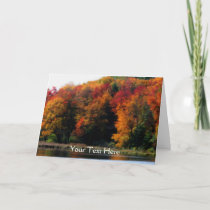 Colorful Autumn Leaves Pond Nature Photo Card