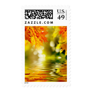 Colorful autumn leaves reflecting in the water 2 postage stamp