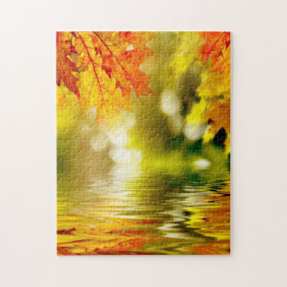 Colorful autumn leaves reflecting in the water 2 puzzles