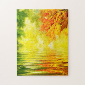 Colorful autumn leaves reflecting in the water puzzle