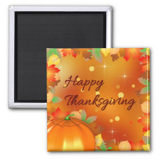 Colorful Autumn Leaves - Thanksgiving Magnet