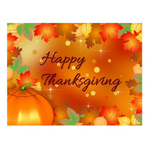 Colorful Autumn Leaves - Thanksgiving Postcard