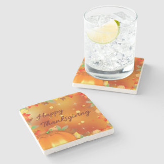 Colorful Autumn Leaves Thanksgiving Stone Coaster