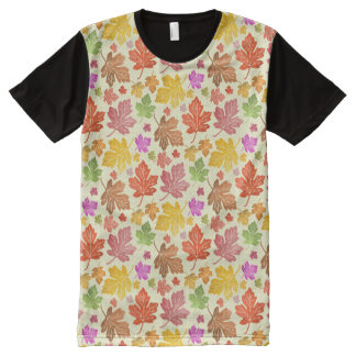 Colorful Autumn Maple Leaves Fall Watercolor Paint All-Over-Print T-Shirt