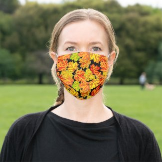 Colorful Autumn Orange Leaves on Black Seasonal Cloth Face Mask