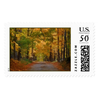 Colorful Autumn Stroll thought the Trees Postage