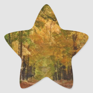Colorful Autumn Stroll thought the Trees Star Sticker