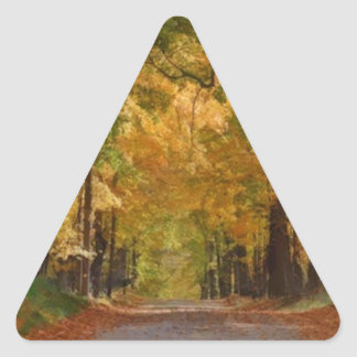 Colorful Autumn Stroll thought the Trees Triangle Sticker