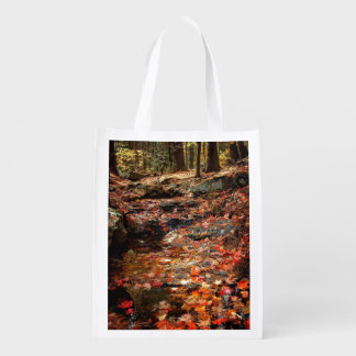 Colorful Autumn Trail in the Poconos Grocery Bag