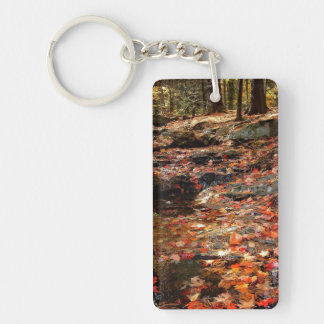 Colorful Autumn Trail in the Poconos Keychain