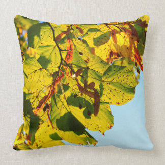 Colorful Autumn Tree Leaves in Sunlight Throw Pillow