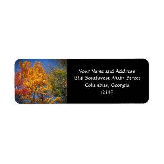 Colorful Autumn Trees Label