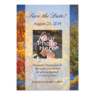 Colorful Autumn Trees Save the Date Personalized Invite