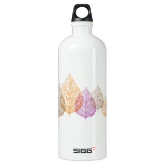 Colorful autumn vein leaves, art illustration aluminum water bottle