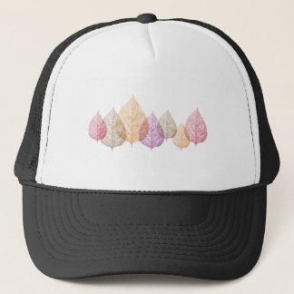 Colorful autumn vein leaves, art illustration trucker hat