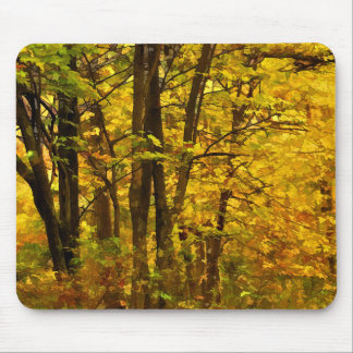 Colorful Autumn Woods Illustration Mouse Pad