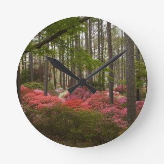 Colorful Azalea Landscape Round Clock