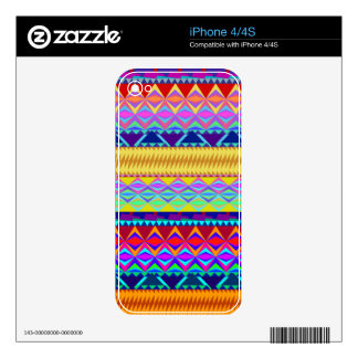 Colorful Aztec Design Decals For iPhone 4