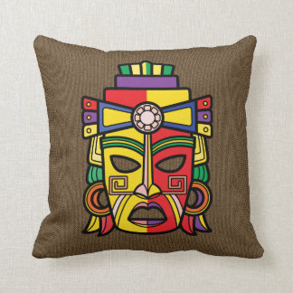 Colorful Aztec Inca Mayan Mask Throw Pillow