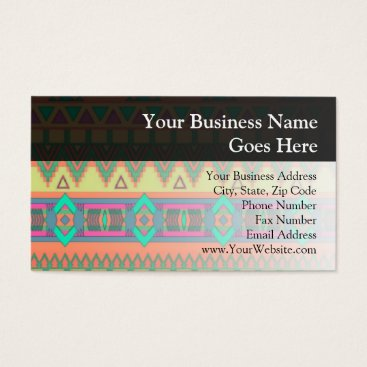 Aztec Themed Colorful Aztec Pattern Business Card