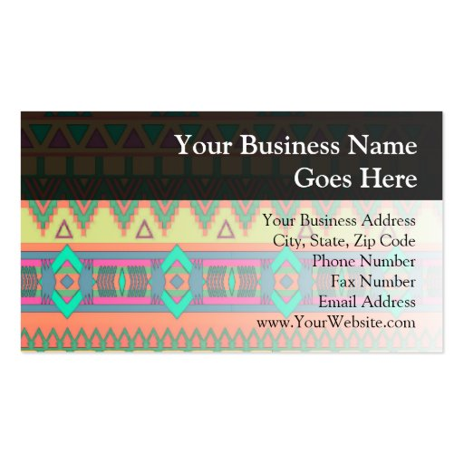 Colorful Aztec Pattern Business Cards