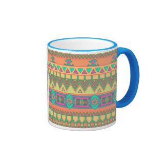 Colorful Aztec Pattern Ringer Coffee Mug