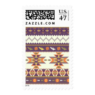 Colorful aztec pattern postage