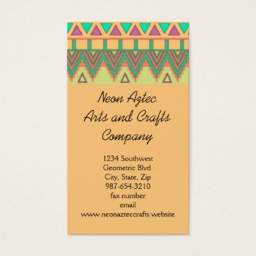 Aztec Themed Colorful Aztec Pattern Southwest Geometric Crafts Business Card