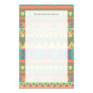Colorful Aztec Pattern Personalized Stationery