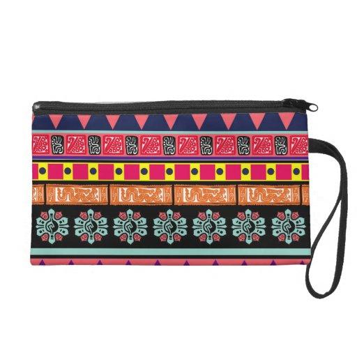 Colorful Aztec Pattern Wristlet Purse