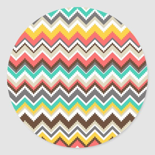 Colorful Aztec Tribal Chevron ZigZag Stripes Classic Round Sticker
