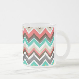Colorful Aztec Tribal Chevron ZigZag Stripes Frosted Glass Coffee Mug
