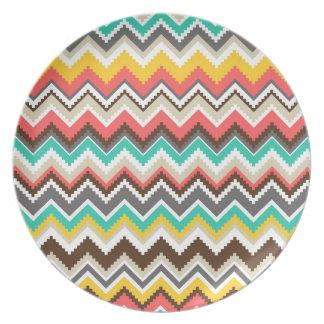 Colorful Aztec Tribal Chevron ZigZag Stripes Melamine Plate