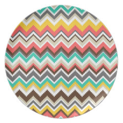 Colorful Aztec Tribal Chevron ZigZag Stripes Party Plates