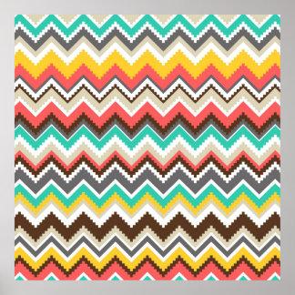 Colorful Aztec Tribal Chevron ZigZag Stripes Print