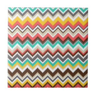 Colorful Aztec Tribal Chevron ZigZag Stripes Tile