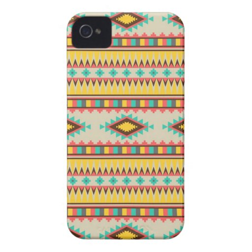 Colorful Aztec Tribal Native American Diamonds iPhone 4 Cases