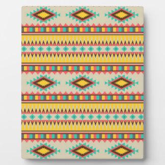 Colorful Aztec Tribal Native American Diamonds Display Plaque