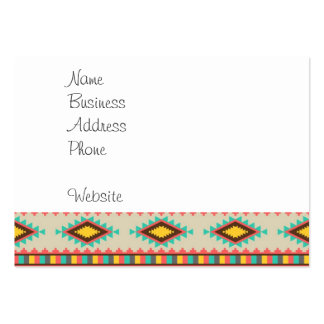 Colorful Aztec Tribal Native American Diamonds Large Business Card