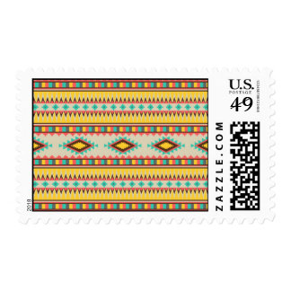 Colorful Aztec Tribal Native American Diamonds Postage Stamp