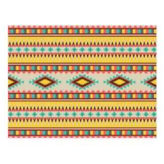 Colorful Aztec Tribal Native American Diamonds Postcard