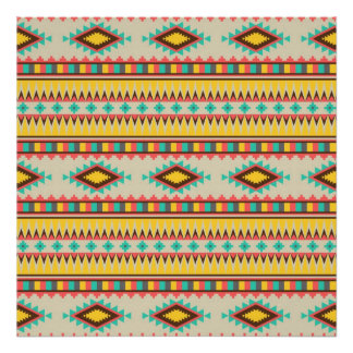 Colorful Aztec Tribal Native American Diamonds Poster