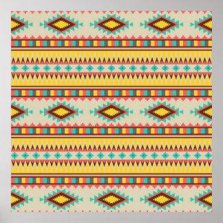 Colorful Aztec Tribal Native American Diamonds Posters