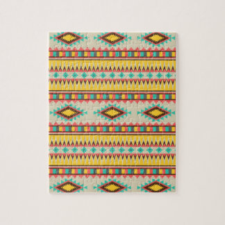 Colorful Aztec Tribal Native American Diamonds Jigsaw Puzzle